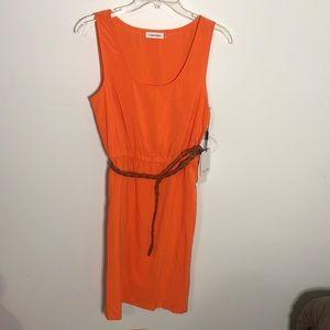 NWT Orange Calvin Klein Dress with belt- sz 6